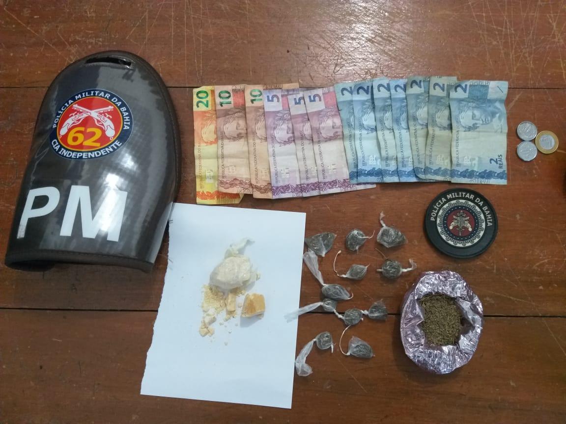 Traficante preso e drogas apreendidas em São João do Paraíso